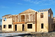 New townhome. Work in progress new home construction Stock Image