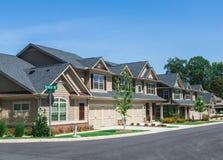 New Townhouses in Small Neighborhood Stock Photo