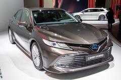 New Toyota Camry Hybrid car. PARIS - OCT 2, 2018: New Toyota Camry Hybrid car reveiled at the Paris Motor Show stock photography
