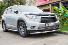New Toyota Highlander Kluger parked on the street. Stock Photo