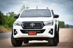 New Toyota Hilux Revo Rocco white Pickup Truck Offroad Car double cab 4x4 stock image