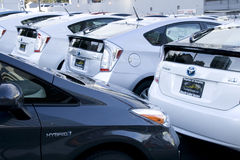 New toyota prius hybrid cars. A lot of new toyota prius hybrid cars at a Seattle Toyota Royalty Free Stock Images