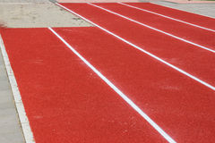 New track and long jump pit Royalty Free Stock Photo