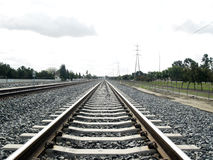 New Tracks. New style railroad tracks with concrete railroad ties Stock Photos