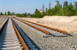 New tracks. Tram line construction Stock Image