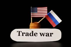 A new trade war between USA and Russia. Ruble is going down and dollar holding same position stock images