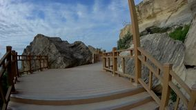 Rock trail in Aktau. New trail along the rocks in Aktau. Coast of the Caspian Sea. Kazakhstan stock video