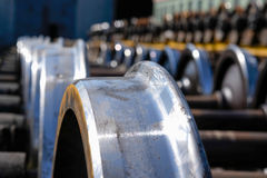 New train metal wheels Stock Photography