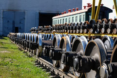 New train metal wheels Royalty Free Stock Image