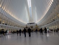 New train station at the world trade center. Beautiful functional and expensive. An important transportation hub near the 9/11 memorial Royalty Free Stock Image
