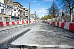 New tram line in Edinburgh. New completed section of tram line in Princes Street,  Edinburgh. Usual traffic has been diverted and the project is controversial Royalty Free Stock Images
