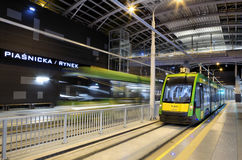 New tram line in tunnel in Poznan, Poland Stock Image