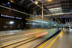 New tram line in tunnel in Poznan, Poland Royalty Free Stock Photo