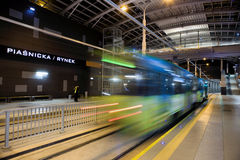 New tram line in tunnel in Poznan, Poland Royalty Free Stock Photography