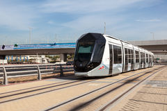 New tram service in the city of Dubai Stock Images