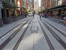 New Tram Tracks, George Street, Sydney, Australia Royalty Free Stock Images