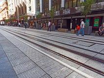 New Tram Tracks, George Street, Sydney, Australia Stock Photos