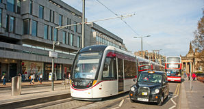 New tram on trial in Princes Street, Edinburgh Stock Photography