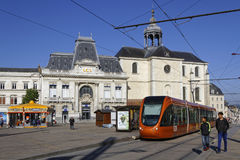 New tramway in Le Mans City Center. LE MANS, FRANCE, April 29, 2017 : New tramway in Le Mans City Center. Since 1923, the city has hosted the internationally Royalty Free Stock Photos