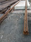 Tramway track construction stock photo