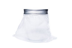 New transparent plastic jar or container with aluminum lid Royalty Free Stock Photography