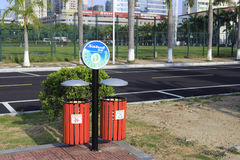 New trash containers for garbage separation stock photo