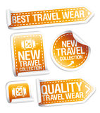 New travel wear collection stickers. Stock Photos