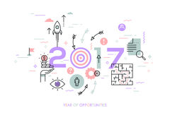 New trends, prospects and predictions in business challenges, targeting, problem solving. Infographic concept, 2017 - year of opportunities. New trends Royalty Free Stock Photography