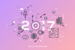 New trends, prospects and predictions in business challenges, targeting, problem solving. Infographic concept, 2017 - year of opportunities. New trends Stock Image