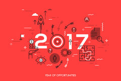 New trends, prospects and predictions in business challenges, targeting, problem solving. Infographic concept, 2017 - year of opportunities. New trends Stock Images