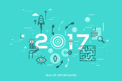New trends, prospects and predictions in business challenges, targeting, problem solving. Infographic concept, 2017 - year of opportunities. New trends Stock Photo