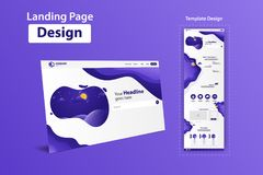 New Trendy Landing Page Website Vector Template Design royalty free stock photos