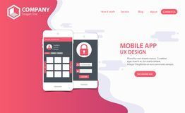 New Trendy Mobile App Website Landing Page vector theme template royalty free illustration
