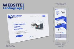 New Trendy Website Landing Page vector theme template stock illustration