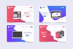 New Trendy Website Landing Pages vector theme template design stock illustration