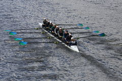 New Trier Rowing Club races in the Head of Charles Regatta Women's Youth Eights Royalty Free Stock Photography