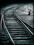 New turn. Of a railroad tracks, expression of grief and uncertainty in the future connected with fear before everyday changes Royalty Free Stock Photos