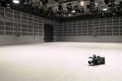 New TV studio. New television studio with lighting devices Royalty Free Stock Photo