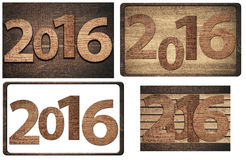 New twenty sixteen year  numbers written on wooden Royalty Free Stock Photography