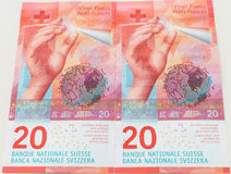 New twenty Swiss Franc bills stock photos