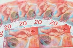 New twenty Swiss Franc bills. The New twenty Swiss Franc money currencies Stock Photography