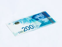 A new type of banknote worth 200 Israeli shekels isolated on a  white background Stock Images