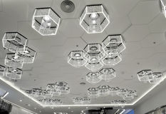 New type of cellular LED lighting used  in modern commercial building Stock Photos