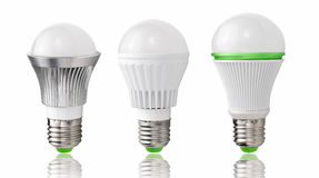 Energy saving lighting,new type  LED bulb evolution  lighting energy saving. Changes in energy-saving light bulb Royalty Free Stock Images