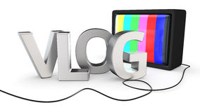 Vlog TV. New type of websites — video blog AKA vlog with old-fashion TV set Royalty Free Stock Photo