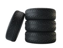 New tyres, isolated on white background. 3d illustration Stock Photography