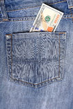 New U.S. hundred dollar bills  in the back pocket  Royalty Free Stock Images