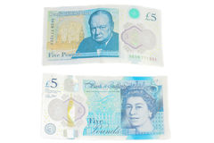 The new UK polymer five pound note featuring enhanced counterfei Royalty Free Stock Images