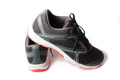New unbranded running shoe color black and red Stock Image