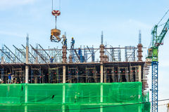 The new under construction building and construction tower canes Royalty Free Stock Photo